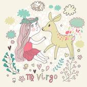 Cute zodiac sign - Virgo. — Stock Vector