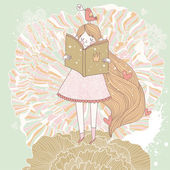 книга чтение принцесса в пастельных тонах. — Cтоковый вектор