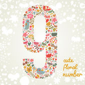 The number Nine. — Stock Vector