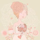 Piękna panna młoda blondynka z bukiet złożony z ranunculuses — Wektor stockowy