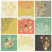 Vector set of cute nine floral backgrounds. — Wektor stockowy