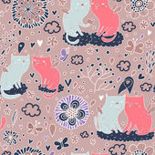 Gentile gatti sulle nuvole nel cielo. — Vettoriale Stock