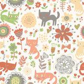 猫と蝶と明るいのシームレスなパターン — ストックベクタ