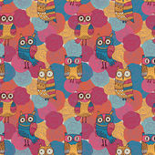 Seamless pattern made of bright flowers with owls — Stock Vector