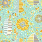 Summer floral wallpaper in vector — Stock Vector