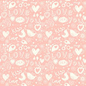 Romantic seamless pattern in pastel colors with birds — Διανυσματικό Αρχείο