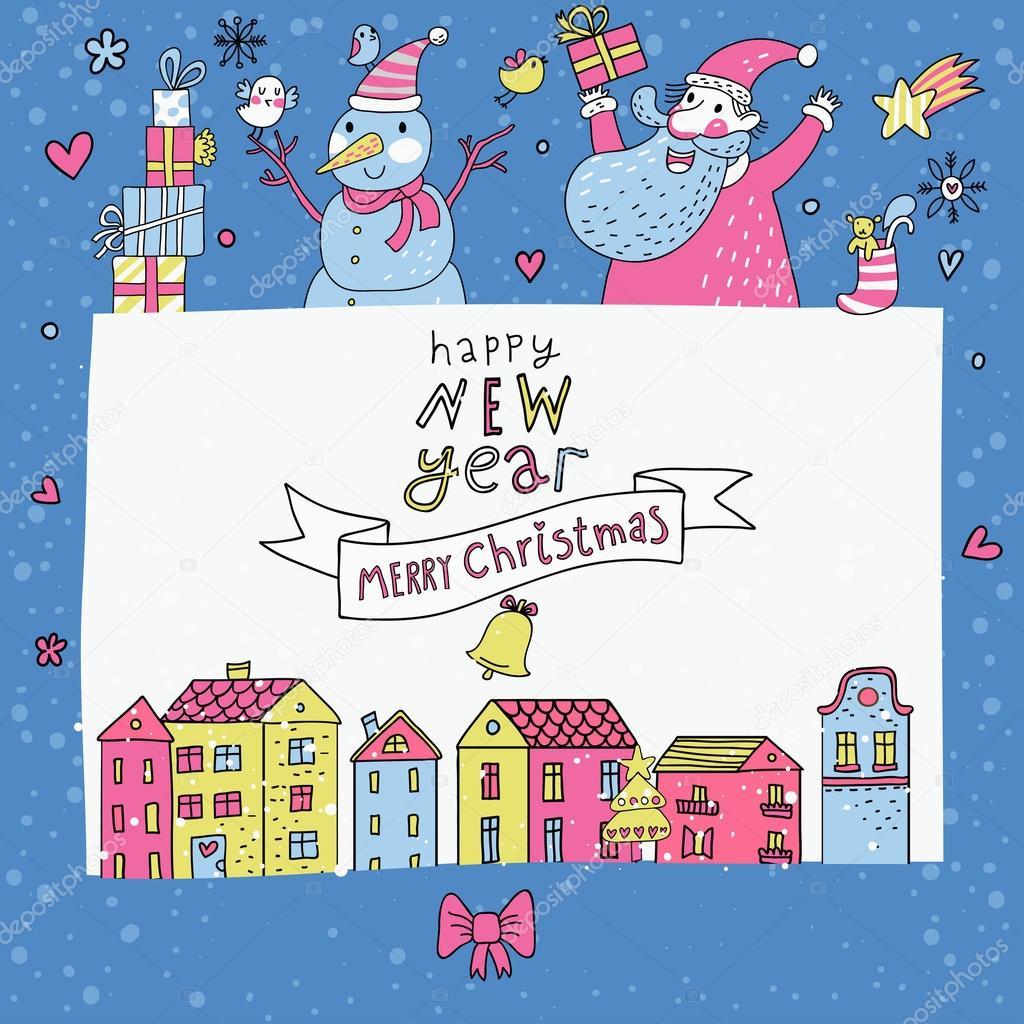 Cartone animato carino cartolina di natale con babbo