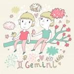 Cute zodiac sign - Gemini. — Stock Vector