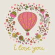 Vintage floral card with lovely air-balloon, flowers, bees. — Stock Vector