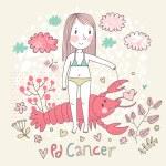 Cute zodiac sign - Cancer. — Stock Vector