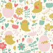 Vintage birds in flower. — Vecteur