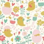 Vintage birds in flower. — Vecteur