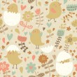 Vintage birds in flower. — Stockvector