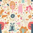 Stylish floral seamless pattern with forest animals — Stock Vector #44233919