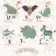 Cute zoo alphabet in vector. U, v, w, x, y, z letters. — Stock Vector #44234181