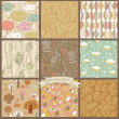 Set of nine autumn seamless patterns — Stock vektor #44234763
