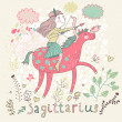 Cute zodiac sign - Sagittarius. — Stock vektor #44235289