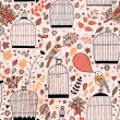 Gentle seamless pattern with cages and birds — ストックベクタ #44236673
