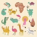 Funny cartoon animals in bright colors. — Stock Vector