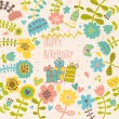 Cute vector birthday invitation card with gifts and flowers. — Stock Vector #44237907