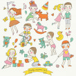 Childish vector set in cartoon style. — Stock Vector
