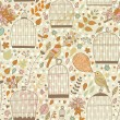 Gentle seamless pattern with cages and birds — Stok Vektör #44238307