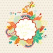 Cute floral background with small fairy, birds and rainbow. — Stock Vector
