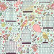 Gentle seamless pattern with cages and birds — Stockvektor