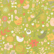 Pattern with birds, hearts and butterflies. — Stock Vector