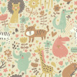 Cute floral seamless pattern with wild animals — Stock Vector