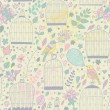 Gentle seamless pattern with cages and birds — Vecteur