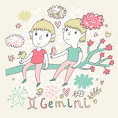 Cute zodiac sign - Gemini. — ストックベクタ