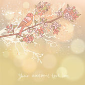 Cute floral background with little bird on the branch. — Stock Vector