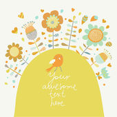 Cartoon card with bird and flowers — Vector de stock