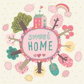 Gentle Sweet Home concept card in vector — Stock Vector