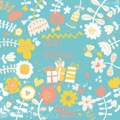 Cute vector birthday invitation card with gifts and flowers. — Stock Vector