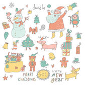 Cartoon New Year and Christmas set in vector. — Stock Vector
