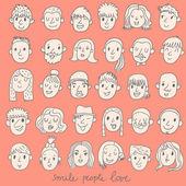 Cartoon vector set  different funny faces. — Stock Vector