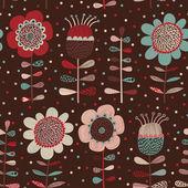 Fondo de flores dibujos animados en colores oscuros. — Vector de stock