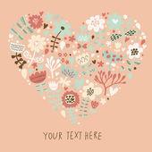 Snygg hjärta av blommor i vektor时尚的心做的向量中的花朵. — Stockvektor