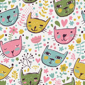 Funny cats in flowers. — Stock Vector