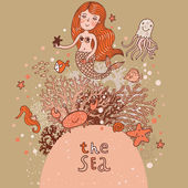 The sea  bright cartoon card — Vetor de Stock