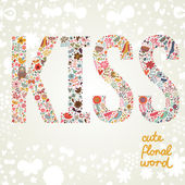 Word Kiss made of flowers in bright colors. — Stock Vector