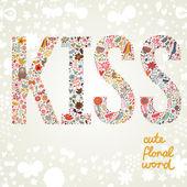 明るい色の花から成っている単語キス. — ストックベクタ