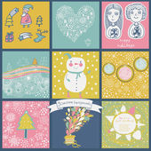 Childish vector set of nine christmas cards. — Stockvector