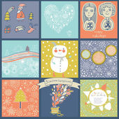 Childish vector set of nine christmas cards. — Vector de stock