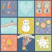 Childish vector set of nine christmas cards. — Cтоковый вектор