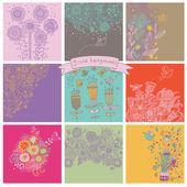 Vector set of cute nine floral backgrounds. — Cтоковый вектор