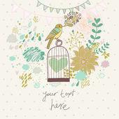 Cartão romântico abstrato em cores verdes. — Vetor de Stock
