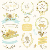 Wedding gentle collection with labels — Stock Vector